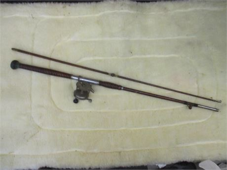 "Rare Antique 80"" Wood Fishing Pole W/ Brother's Mohawk 1920's Reel"