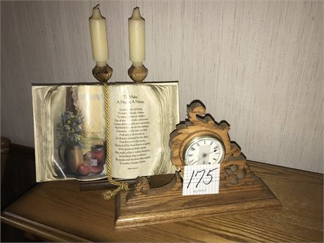 Home Decor Lot including Oak Quartz Mantle Clock