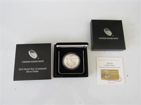 2018 WW1 Silver Dollar Centennial Uncirculated with Box