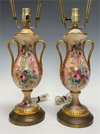 Porcelain Table Lamps Hand Painted with Roses and Flowers (2) Matching