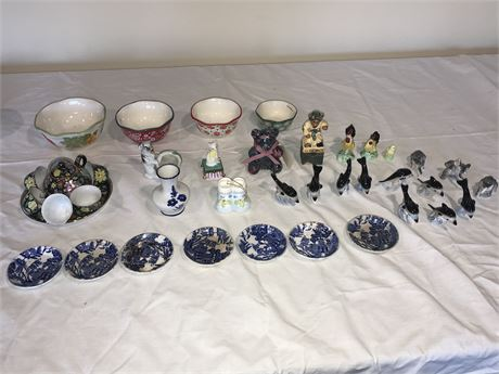 Vintage Porcelain Figurines and Finger Plates Lot