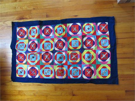 Small Mexican ? Quilt Double Sided, Vintage