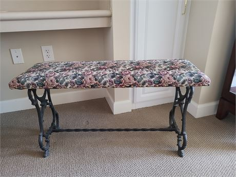 Vintage Wrought Iron Frame Upholstered Seat Bench