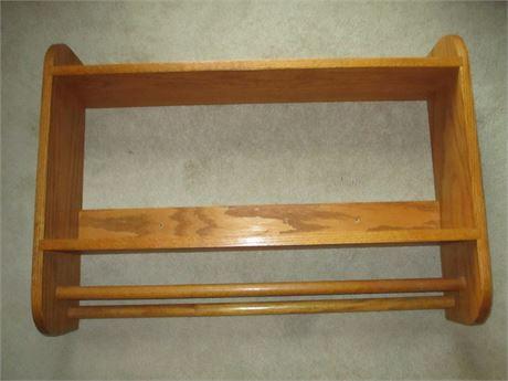 "Heavy 1"" Oak MCM 31 1/2"" Bathroom 31"" Shelf w/ Two Towel Bars"