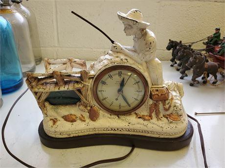 Vintage United Animated Fisherman Clock