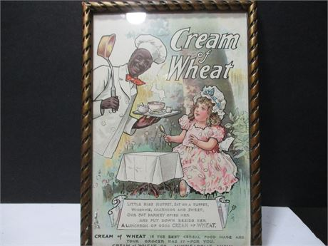 "Antique 19th Century Framed ""Cream of Wheat"" Advertisement"