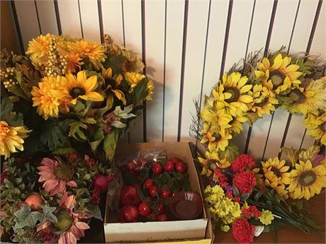 Assortment of Spring/Summer Artificial Flower Wreath, Centerpiece, and Sprigs