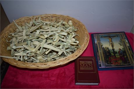 Large basked of Palm Easter crosses and two Easter Books
