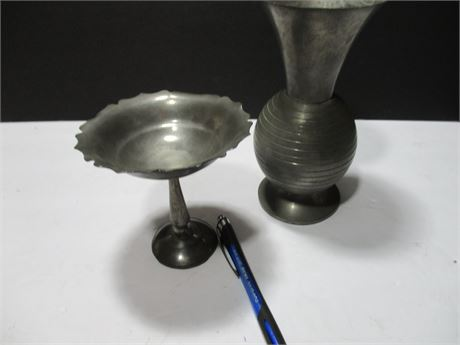 2 Pieces Pewter Ware Vase & Dish Collectible 40's