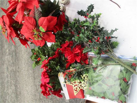 Christmas Faux Poinsettia & Holly Berry Holiday floral Decor