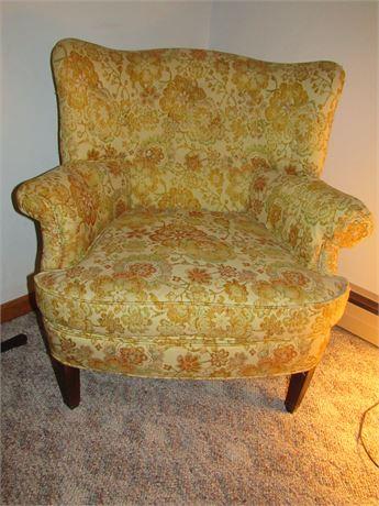 Retro Flower Wingback Chair, Vintage Hammary