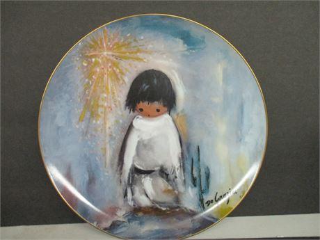 """Vintage De GRazia 1982 Limited Edition Indian 10"""" 2527/10000 Art Plate"""
