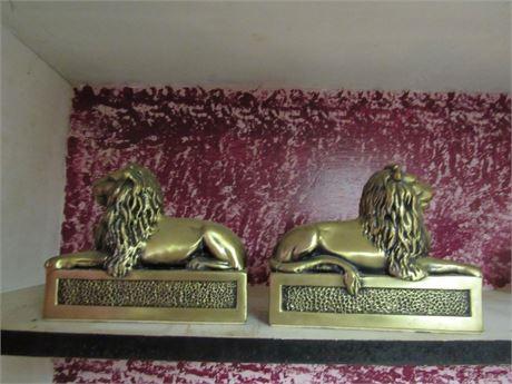 Brass Lion Bookends