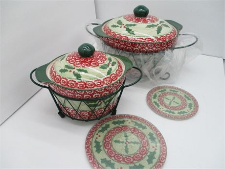 New TEMP-TATIONS 6 Piece Christmas Presentation Square Oven Ware