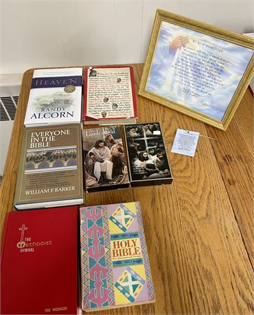 Religious Lot - Books, VHS Tapes and Framed Poem