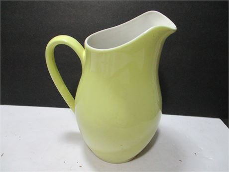 """Vintage 9"""" Moss Green Smooth Ceramic Open Water Pitcher"""
