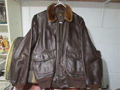 Vintage US Navy G-1 1940's Leather Fur Flight Bomber Jacket