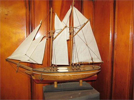 Wood Ship Model w/ Cloth Sails