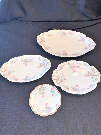 Vintage Haviland Limoges Pink Rose China Serving Dishes