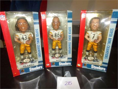 Super Bowl Championship Bobble Heads- Ward, Polamula, and Rolthlisberger