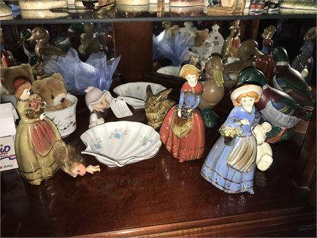 Porcelain Figurine Lot (8) plus extras