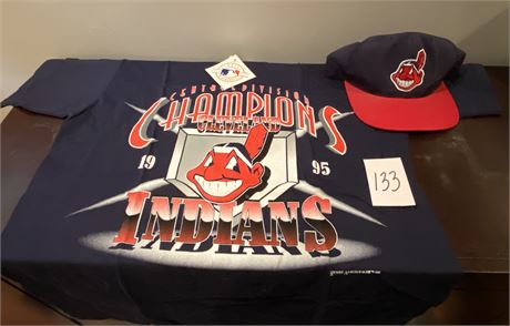 Cleveland Indians Nostalgic T-Shirt w/Tag and Baseball Cap with Chief Wahoo