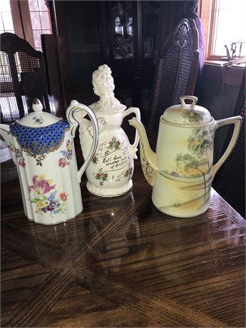 3 Antique Teapots
