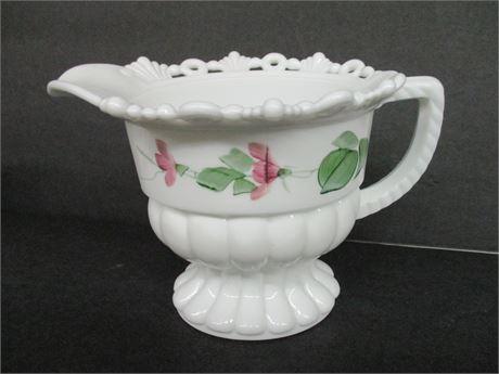 "Vintage 5"" White Milk Glass Painted Fancy Cream Pitcher"