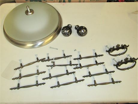 Vintage Drawer Pulls and Ceiling Light Fixture