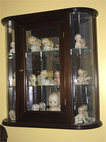 Vintage Kewpie Doll Collection with Hanging Display Cabinet