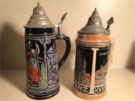 Two Antique German Beer Steins