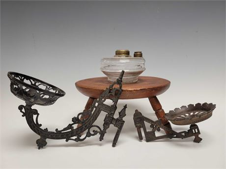 19th Century Oil Lamp Wall Sconces and Step Stool
