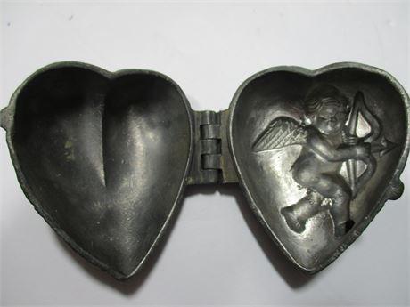 "Antique Metal Early Century 3"" Cupid Keepsake Treasure Box"