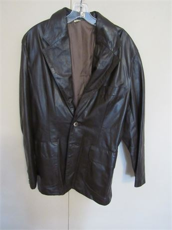 Men's Leather Brown Jacket L