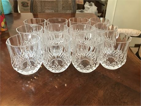 Set of 12 Heavy Crystal Rocks Glasses