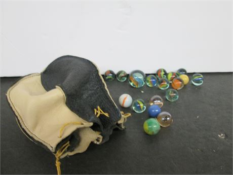 Antique 1950's Leather Marble Pouch & Collector Marbles Lot