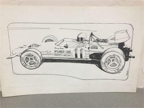 Original Signed Race Car Art by Walt Herip (McLaren)