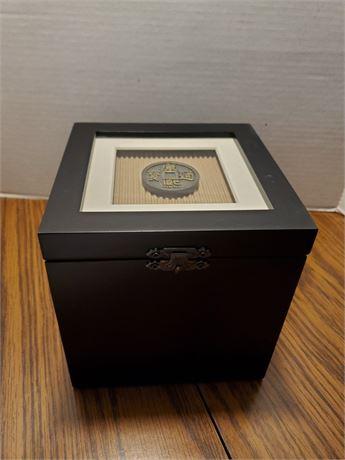 Pretty Little Storage Box w/ Chinese Coin