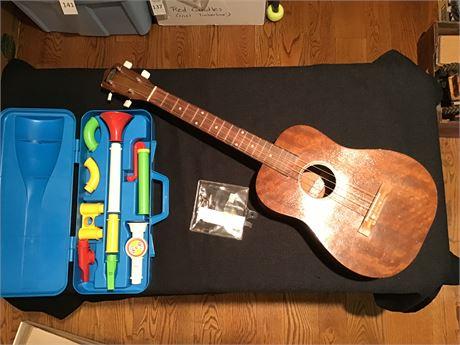 Barclay Baritone Ukulele and Fisher Price Toy Clarinet