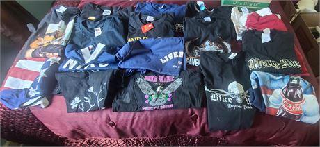 T-Shirt Lot (NIKE, TOBY KEITH, BIKER WEEK, OPRY, USA, ETC.) 17 SHIRTS SIZES L-XL