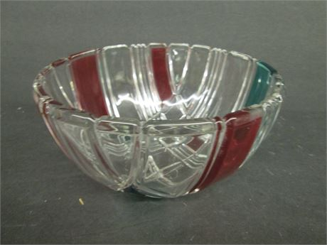 """Fancy 8"""" Mikasa Hand Painted Fancy Glass Crystal Bowl"""