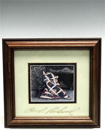 Ben Richmond 1985 Print with Artist Signed Glass