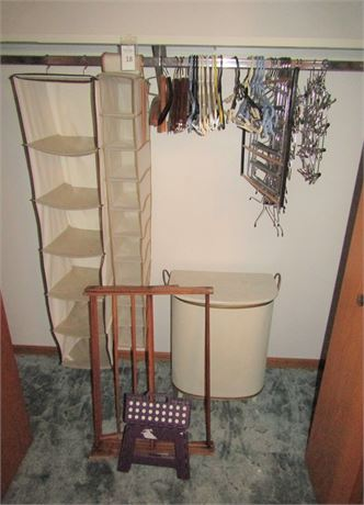 Closet/Laundry Essentials: Vintage Hamper, Drying Rack, Clothing Hangers & More