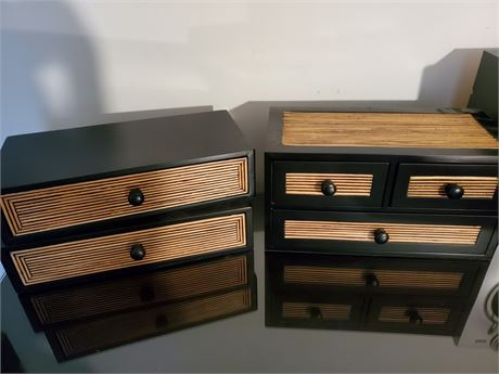 3 Black + Bamboo Wood Organizer Drawers
