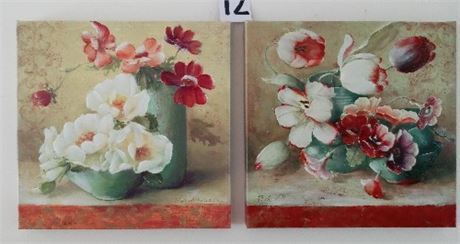 Art on Canvas - Floral Pair
