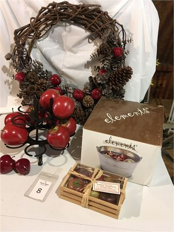 """Elements """"Bobbin for Apples"""" Candles Bucket, Grapevine Wreath, & More"""