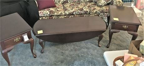 Wood Coffee Table and Pair of Matching End Tables