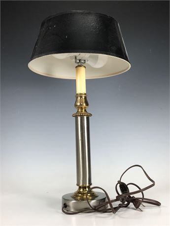 Vintage Table Lamp in Gold Brushed Aluminum Look