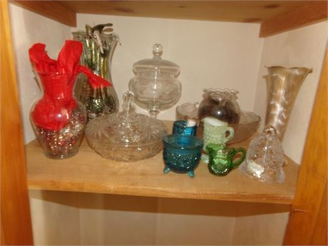 Large Collection of Glassware and a Metal Vase