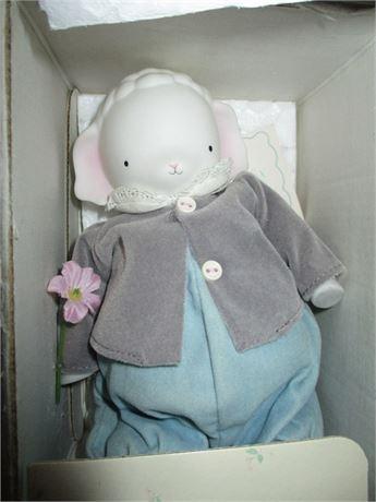 1980's Huggable Lamby Pie Hand painted Ceramic Doll Girl 1932